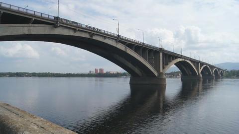 Bridge Over Yenisei River 04 Stock Video Footage
