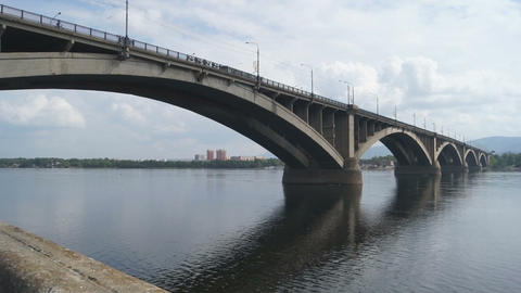 Bridge Over Yenisei River 04 Stock Video Footage