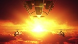 Helicopters against sunset Animation