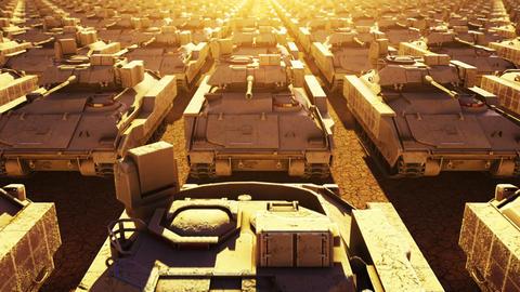 Military Tanks, Seamless Loop Stock Video Footage