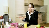businesswoman working on tablet answering the phone getting angry Animation