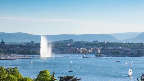 Timelapse of the Geneva water fountain in switzerland - Jet d'eau de Geneve Footage