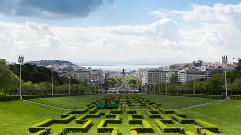 4K timelapse of Edward vii park in Lisbon, Portugal - UHD Footage