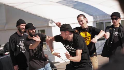 Hip hop dancers on stage. Summer festival. Slow motion Footage