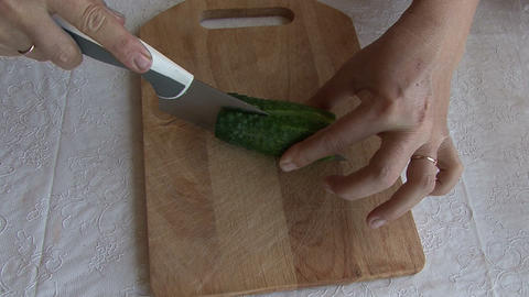 Knife Cut Cucumber Footage