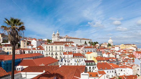 4K timelapse of Lisbon rooftop from Portas do sol viewpoint - Miradouro in Portu Live Action