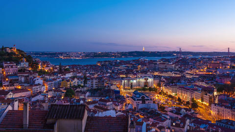 4K day to night timelapse of Lisbon rooftop from Senhora do monte miradouro view Footage