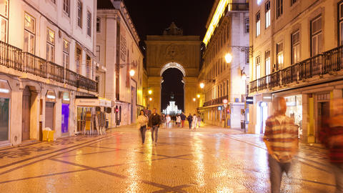 4K night timelpase of Augusta street near commerce square in Lisbon , Portugal - Footage