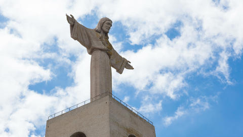 4K timelapse of Jesus Christ monument Cristo rei in Lisbon, Portugal Footage