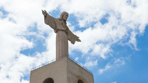 4K timelapse of Jesus Christ monument Cristo rei in Lisbon, Portugal Footage
