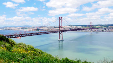 4K view of 25 de Abril (April) Bridge in Lisbon - Portugal - UHD Footage