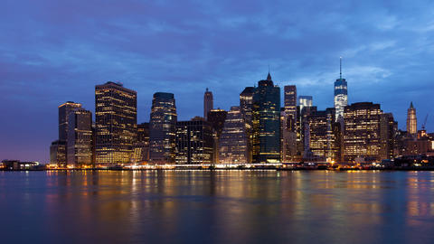 Sunrise timelapse of Manhattan skyline in new york - USA Footage