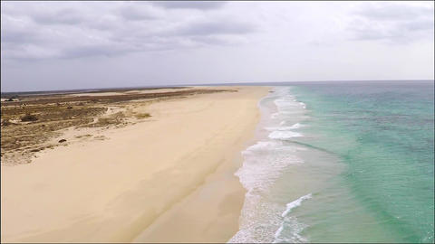 Aerial view of ( Praia de ) Chaves Beach in Boa Vista Cape Verde - Cabo Verde Footage