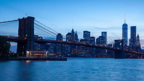 4K Aerial Sunset timelaspe of Manhattan skyline - New York - USA Footage