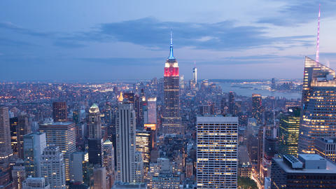 4K Aerial Sunset timelaspe of Manhattan skyline - New York - USA Footage
