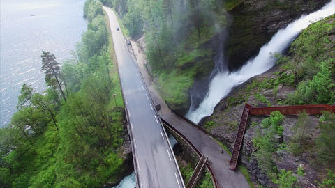 Waterfall on Ryfylke national road in Norway Footage