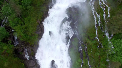 Flying over huge waterfall in Norway, Ryfylke Footage
