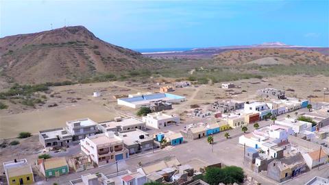 Aerial view of Povoaçao velha city in Boavista Cape Verde - Cabo Verde Footage