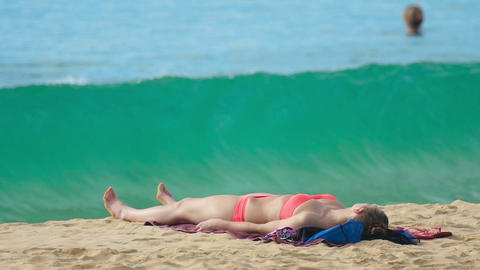 Girl on the Karon beach Footage