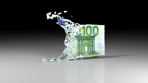euro banknotes is falling apart Animation