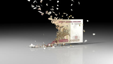 Ruble banknotes is falling apart Animation