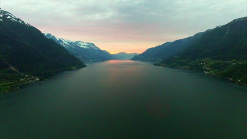 Aerial footage of famous Hardanger fjord, Norway, in the evening Footage