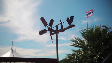 Rotary vane for measuring wind speed on the roof Footage