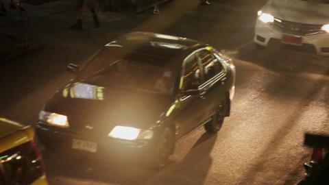 KOH SAMUI, THAILAND - NOVEMBER 9, 2014: Night traffic in central Footage
