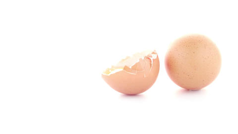 Raw eggs isolated on white Footage