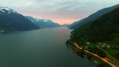 Road by the Hardanger fjord in Norway in the evening, aerial footage Footage