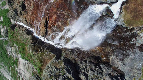 Breathtaking aerial footage of tall waterfall in Norway from above, aerial foota Footage