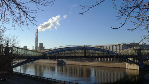 Moscow river, bridge, and pipe smoke in Moscow in 2015 Footage