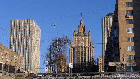 High Buildings of Ministry of Foreign Affairs Down Up, Cityscape of Moscow, city Live Action