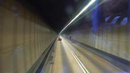 Driving in the tunnel, view through dirty glass Footage
