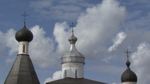 Timelapse Picture To Real. Church Cross Clouds stock footage