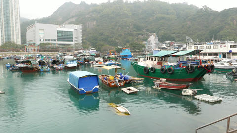 Beautiful authentic boats on Sam Ka Tsuen Typhoon Shelter, HongKong Footage