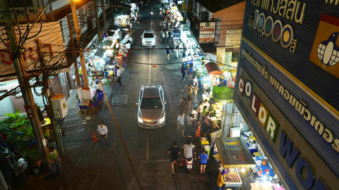 Night street food stalls from above, general view, lively area, nightlife Footage