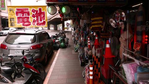 Blinking lights in street shop. Safety highlight and illumination lanterns Footage
