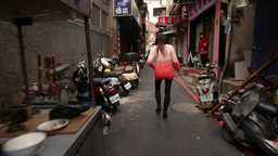 Red-light district of Taipei city, walking on the narrow street 影片素材