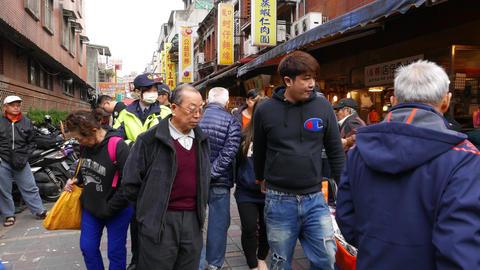 Crowd at casual street market, many people, POV walk forward Footage