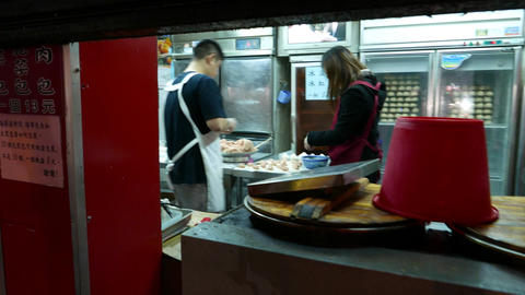 Food making manually meat dumplings oriental traditional taiwanese Footage