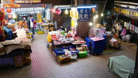 Shop, Market And Restaurant Storage Facilities In Basement Of Building At Night stock footage