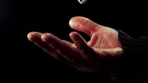Hand tossing a dice ライブ動画