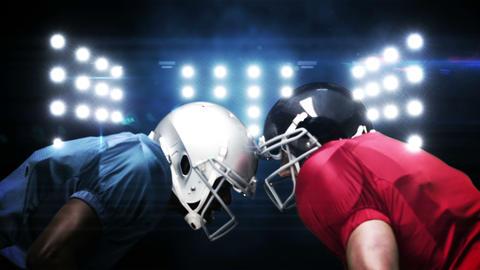 American football players against flashing lights CG動画素材