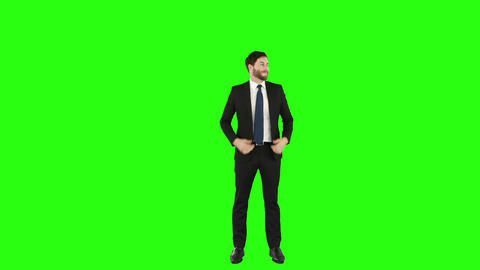 Happy businessman gesturing Footage