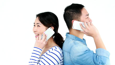 Couple having phone calls Footage