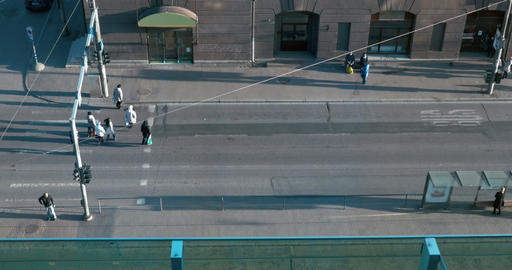 Busy People Crossing The Street Footage