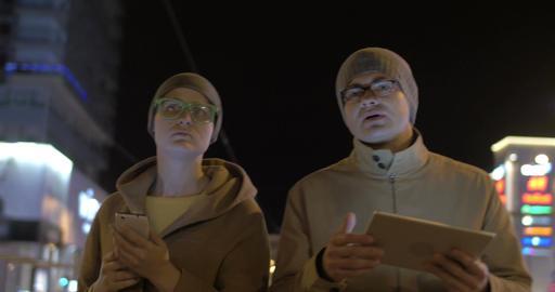 Friends with Gadgets Walking in Tallinn Footage