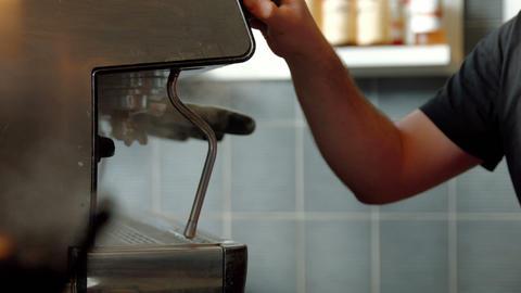 Barista Using Coffee Machine stock footage