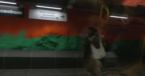 Underground Metro Station in Stockholm Footage